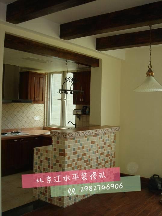 北京江水平装修队制作的砖砌吧台