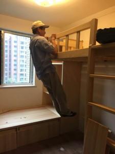 北京江水平装修现场制作的多功能高床和榻榻米