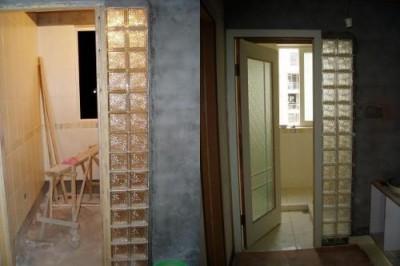 北京装修砌玻璃砖墙