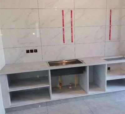北京江水平装修队瓷砖砌橱柜1